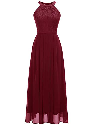 Dressystar Women's Halter Long Bridesmaid Dress Prom Dress Formal Wedding Party Gown M Dark Red