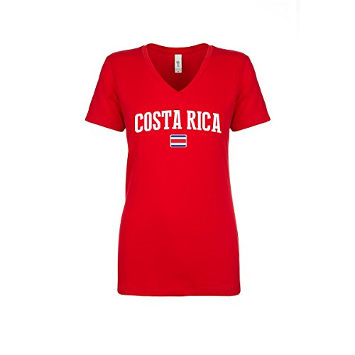 Costa Rica Women's Flag National Pride Woman V-Neck Tee T-Shirt (Women Red XL)