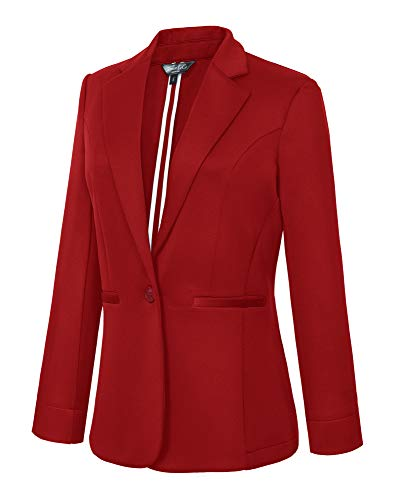 Women's Casual One Button Office Blazer Jacket (M, Red) ()
