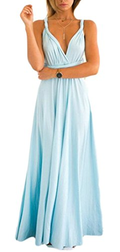 Jaycargogo Evening Women Bridesmaid Dress Neck V Deep Dress Halter 2 Crisscross Prom 7r6wq7T8
