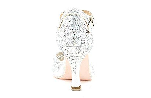 Scarpa da ballo Limited Edition in raso bianco ,completamente ricoperta di crystal strass aurora boreale tacco 7,5 cm