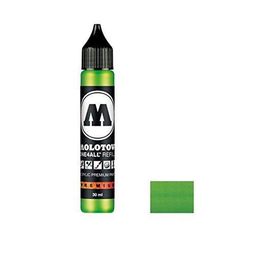 Molotow ONE4ALL Acrylic Paint Refill, For Molotow ONE4ALL Paint Marker, Neon Green Fluorescent, 30ml Bottle, 1 Each (693.219)