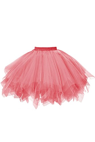 (Musever 1950s Vintage Ballet Bubble Skirt Tulle Petticoat Puffy Tutu Coral Small/Medium)
