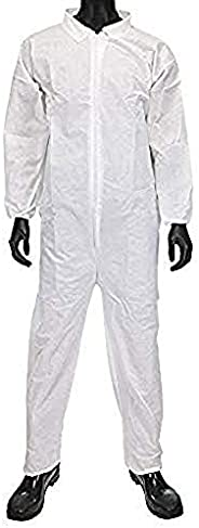 AMZ Disposable Coveralls. White Adult Coveralls 3X-Large. Polypropylene Fabric Apparel with Zipper Front Entry