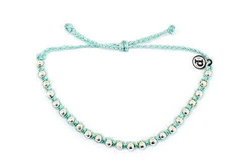 Pura Vida Bracelets Seafoam Braided Studded Bracelet Handmade  Waterproof w/ Iron-Coated Charm