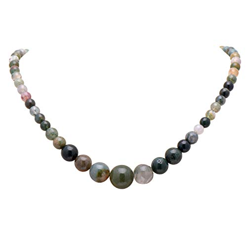 (Paialco Women's Graduated Necklace Mixed Green Moss Agate Beads Round Polished Strand 6-14MM, 16)