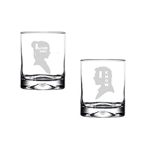 ove you I know Rocks Drinking Glass Set of Two Etched Glassware Gift Set - Wedding gift, Anniversary Gift ()