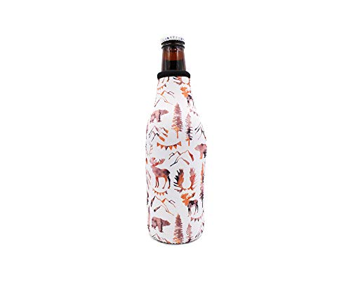 Mountain Bears Zip Top Beer Bottle Coolier Holder Cooler Insulator ()