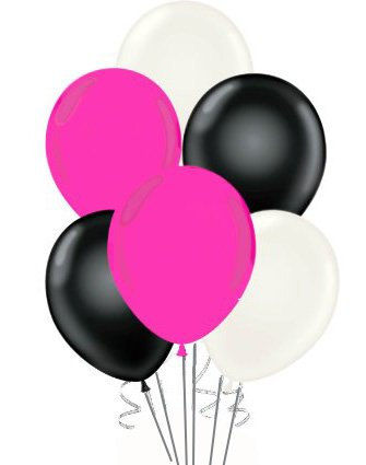 11 Inch Hot Pink Black White Party Balloon Kit Pkg/36 ()