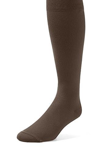 EMEM Apparel Men's Mild Graduated Compression Support Over the Calf Nylon Socks Hosiery 12-15 mmHg 2-Pack Brown - Over Calf Support