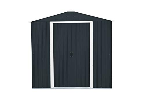 Duramax-Riverton-6-x-4-Metal-Outdoor-Garden-Shed-Made-of-Hot-Dipped-Galvanized-Steel-Strong-Roof-Structure-Maintenance-Free-Weatherproof-Lockable-Metal-Garden-Storage-Shed-Anthracite