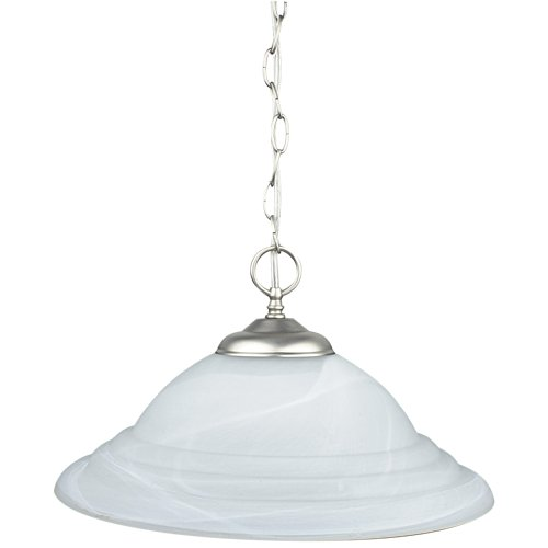 Sunset Lighting F6978-53 Pendant with Faux Alabaster Glass, Satin Nickel Finish ()