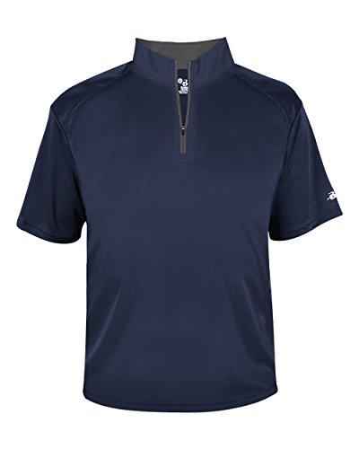 Navy Blue Adult 4XL Short Sleeve 1/4 Zip Pullover Wicking Sports Windbreaker Jacket