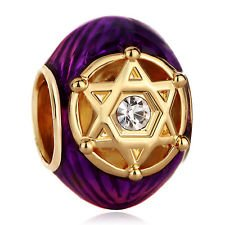 Charm Bead Enamel Egg with Star of David Pugster Charms Fits ()