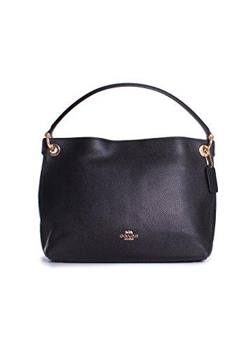 COACH Women's Polished Pebble Leather Clarkson Hobo Li/Black One - Handbags Coach Hobo