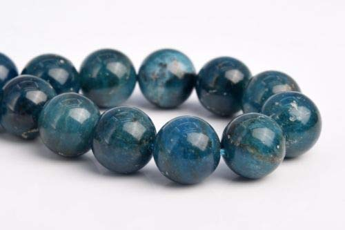 12-13mm Genuine Natural Deep Blue Apatite Grade A Round Loose Beads 7.5'' Crafting Key Chain Bracelet Necklace Jewelry Accessories Pendants ()