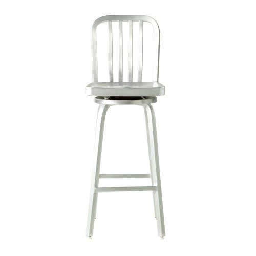 Sandra Bar Stool, SWIVEL, BRUSHED ALUMINM (Crate Barrel And Stools Aluminum)