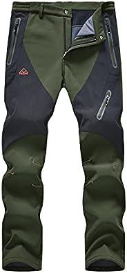 Rdruko Men's Winter Hiking Pants Waterproof Fleece Lined Ski Snow Softshell Work Pants 4 Poc