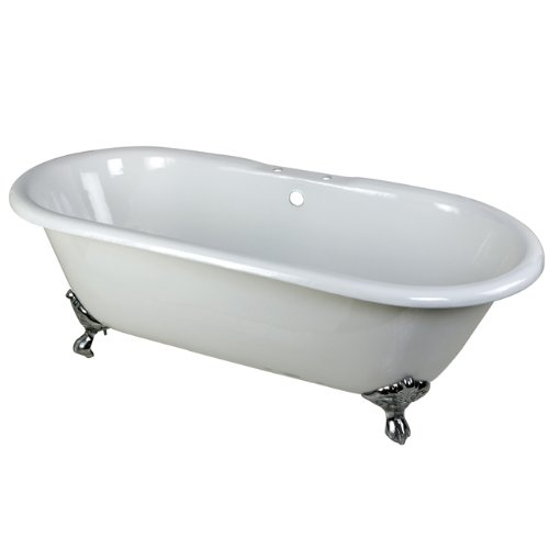 (Kingston Brass Aqua Eden VCT7D663013NB1 Cast Iron Double Ended Clawfoot Bathtub with Chrome Feet and 7-Inch Centers Faucet Drillings,  66-Inch, White)