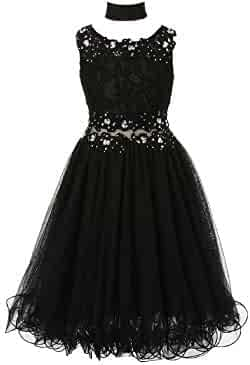 517a750d824 Cinderella Couture Big Girls Black Lace Mesh Rhinestone Wired Flower Girl  Dress 8-16
