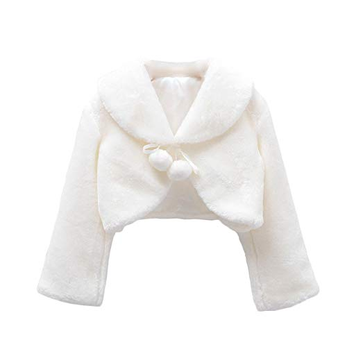 SK Studio Girls Princess Faux Fur Flower Bolero Shrug Party Wedding Dress Up Ivory