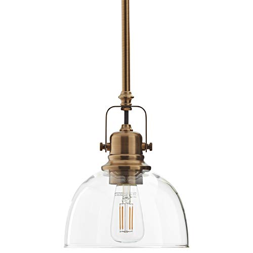 (Stone & Beam Vintage Ceiling Pendant Lighting Fixture With Light Bulb And Clear Glass Shade - 7 x 7 x 17.25 Inches, 11.75 - 59.25 Inch Cord, Gold)