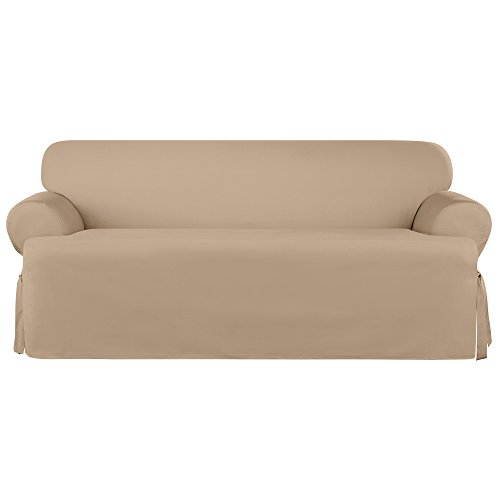 Sure Fit Heavyweight Cotton Duck One Piece T-Cushion Sofa Slipcover - Khaki (SF41868)