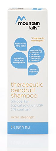 Mountain Falls Therapeutic Dandruff Shampoo 5% Coal Tar Topical Solution, Controls Symptoms of Psoriasis, Seborrheic Dermatitis, and Dandruff, Extra Strength, Compare to Neutrogena, 6 Fluid Ounce Therapeutic Coal Tar Shampoo