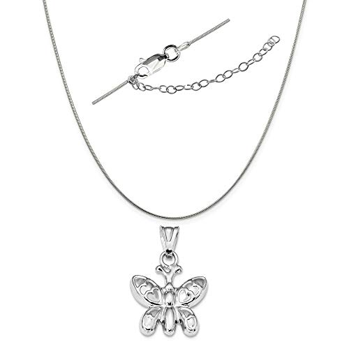 - Sterling Silver Anti-Tarnish Treated Polished Puffed Butterfly Charm on a Snake Chain, 18