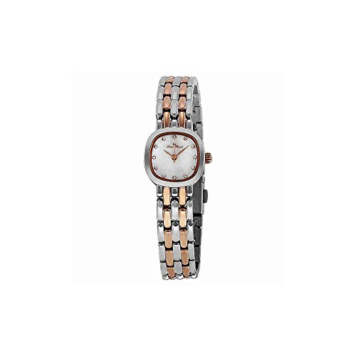 Lucien Piccard Womens Crystal - Lucien Piccard Women's 12012-SR-02MOP Teide White Mother-Of-Pearl Dial Crystal Accented Two Tone Stainless Steel Watch