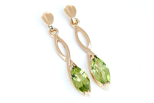 Or 9ct Peridot Coupe Marquise longues boucles d'oreilles