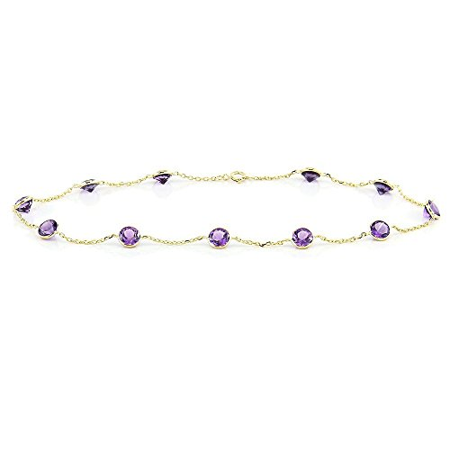 14k Yellow Gold Handmade Station Anklet with Round 4mm Amethysts by amazinite