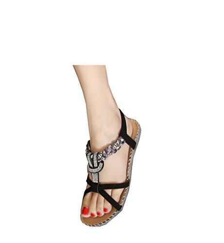Damen Ballerinas Sandale von Blumen Strass Böhmen Stile Schwarz