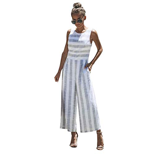 (ABASSKY Jumpsuit for Women, Casual Sleeveless Striped Jumpsuit Casual Clubwear Wide Leg Pants Outfit (Blue, L))