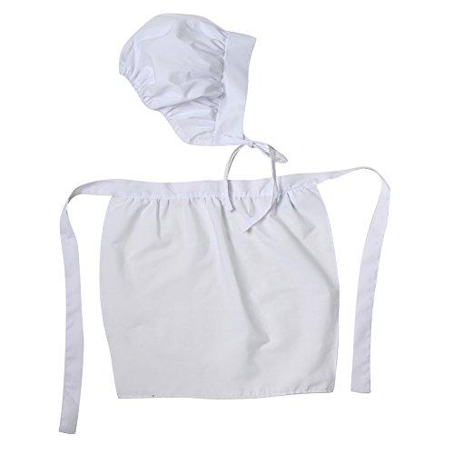 [White Fabric Simple Pioneer Apron & Bonnet Set] (Pilgrim Costumes Ideas)