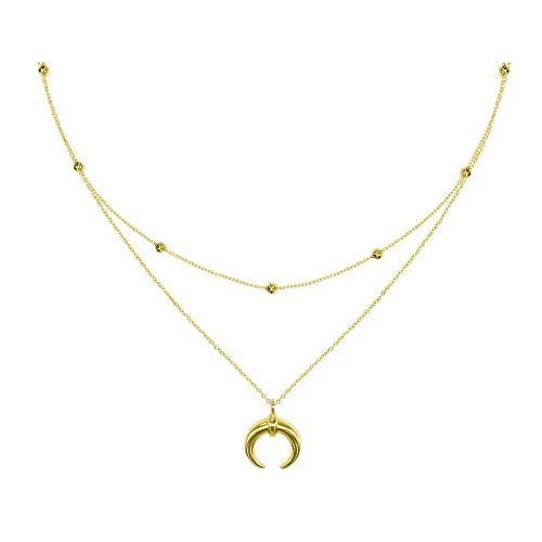 Helnal Moon Stars Coin Layered Choker Necklace Gold Plated Handmade Delicate Multi-Layer Crescent Pendant Necklace Set with CZ for Women Girls Chain Adjustable (Gold Moon Bead Set)