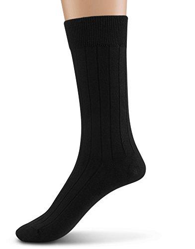 Silky Toes Modal 1 Pk Rib Mens Dress Crew Socks (10-13, Black Rib - 1 Pair)
