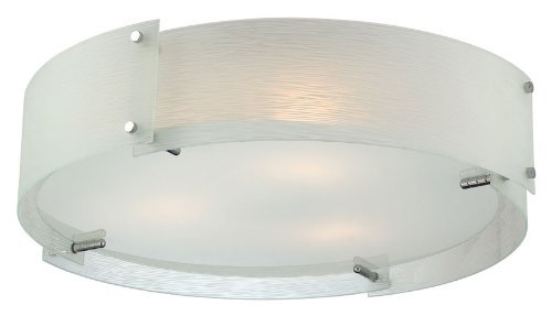 Lite Source LS-5420C/FRO Flush Mount with Frosted Glass Shades, Chrome Finish