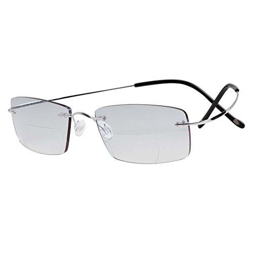 LianSan Super Light 100% Titanium Reading Glasses Men Fashion Rimless Reading Eyeglasses bifocal Women sun reading glasses 8015 (+2.50, silver)