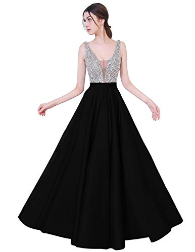 (YuNuo Sparkly Crystal Beading Prom Dresses Long 2019 Sexy Open Back Party Ball Gown Scoop Bridesmaid Dresses S5 Black 14)