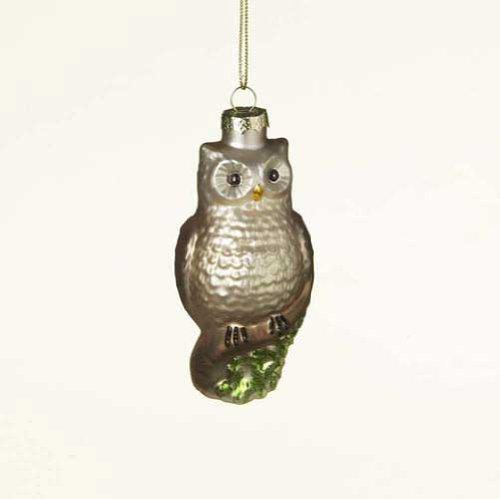 Lodge Brown Owl Glass Christmas Ornament