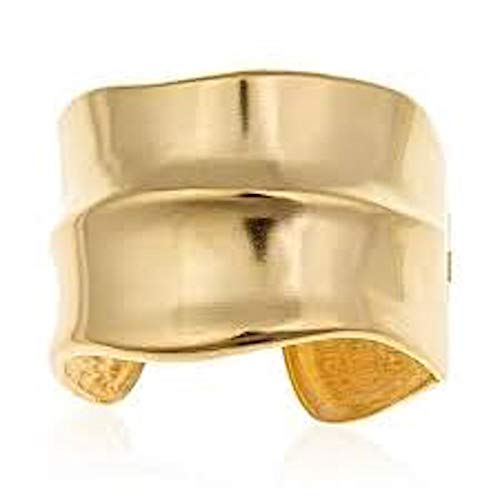 Kenneth Jay Lane, Sculptured Satin Gold HINGED Cuff Bracelet