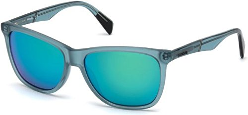 Sunglasses Diesel DL 222 DL 0222 87Q shiny turquoise / green mirror