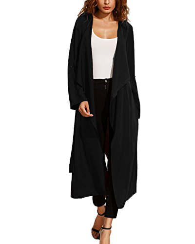 Collar Long Coat (Kidsform Women Open Front Cardigan Lapel Windbreaker Long Sleeve Belted Trench Coat Maxi Outwear Black M)