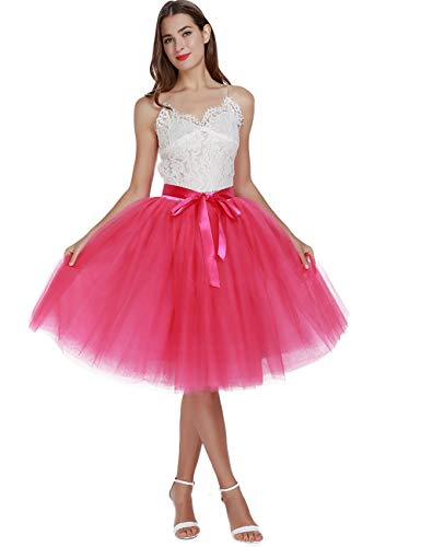 Women's High Waist Pleated Princess A Line Midi/Knee Length Tutu Tulle Skirt for Prom Party (Plus Size, Hot Pink)]()