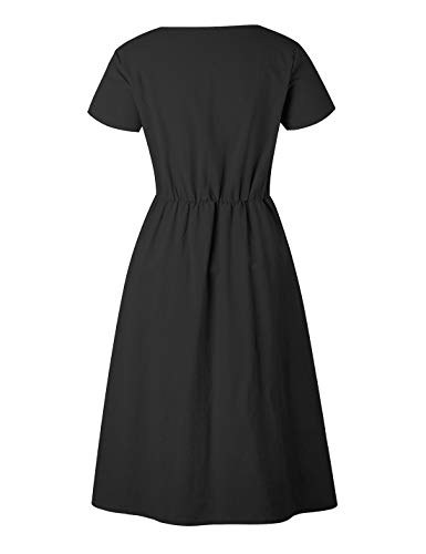 Sleeve Loose Women Dress Stylish Neck Short black Casual Dresses Down Ruffles Z Tunic CAIYING Summer T V Shirt Button f8dnqdX