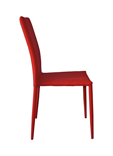 Dining Room Chairs Set of 4, Fabric Chair for Living Room 4 Pieces (Red) by Divano Roma Furniture (Image #3)
