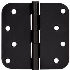 Cosmas Flat Black Door Hinge 4'' Inch x 4'' Inch with 5/8'' Inch Radius Corners