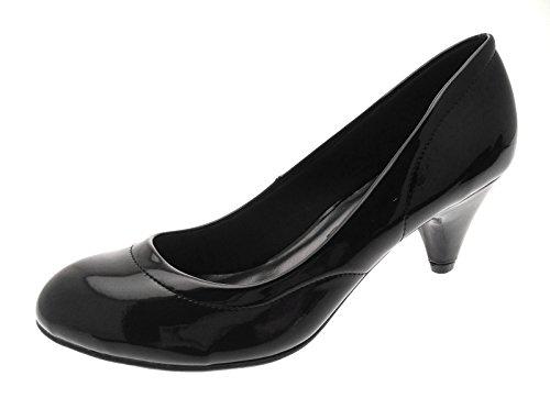 Womens Low Stiletto Heels Comfort Work Office Everyday Loafers Court Shoes Ladies Girls Size UK 3-8 black patent hkCJwKVyz