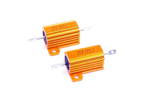 LM YN 25 Watt 150 Ohm 5% Wirewound Resistor Electronic Aluminium Shell Resistor Gold for Inverter LED lights Frequency Divider Servo Industry Industrial Control 2-Pcs
